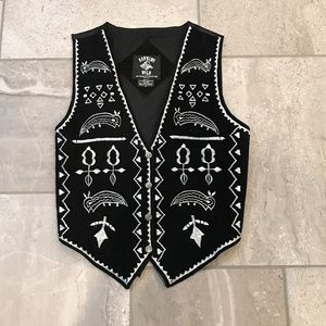 Vintage Running Wild Leather Embroidered Vest